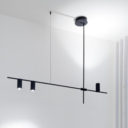 pendant lamp composed of two metal rods with two direct downlights and one direct uplight